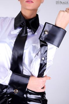 "GB10 High Gloss Satin Shirt ""Shark"" with Tie"
