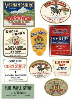 Colorful vintage maple syrup labels!
