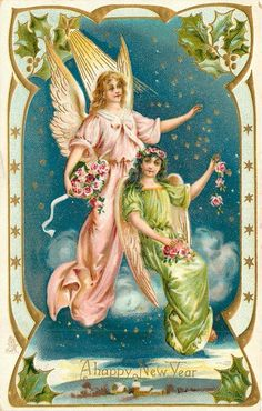 A HAPPY NEW YEAR  two angels on clouds, one  in green sitting, one in pink stands, ornate border
