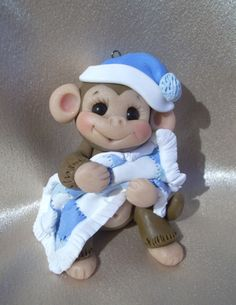 images of clay baby animals | clay personalized baby monkey Christmas ornament cake topper animal ...
