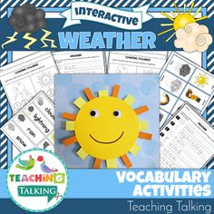 Weather Unit Weather Vocabulary Activities This packet of 5 interactive weather activities will help you to reinforce theme based vocabulary for PreK & Kindergarten students. Weather Vocabulary, Weather Science, Teaching Vocabulary, Weather Unit, Weather Activities, Vocabulary Activities, Interactive Activities, Speech Therapy Activities, Language Activities