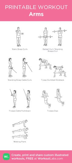 Arms: my visual workout created at WorkoutLabs.com • Click through to customize and download as a FREE PDF! #customworkout