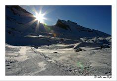 Winterzon. Leukerbad, Switserland