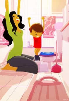 Happy mum and child / Felice mamma e figlio - Art by Pascal Campion