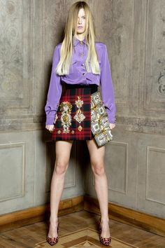 Classic Meets Punk withMedallions! Red Tartan Skirt with Medallions embellishment in punk style #Fashion Trend for Fall Winter 2013 Fausto Puglisi Fall Winter 2013 #BestPiece#MFW
