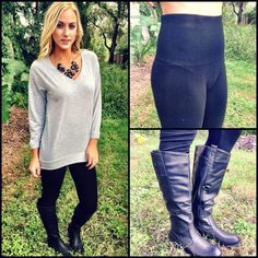 Get ready for Fall outfits with the most amazing control top high rise leggings ($29.99) now at 4th&Ocean...comfy, the perfect fit, and no bulges-what else could you ask for in a legging?! Grey v-neck long sleeve tee ($14.99-available online and instore at #4thandocean), riding boots ($39.99-available instore at 4th&Ocean). 407.878.6656 to order! #fallfashion #leggings #ridingboots