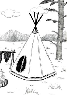 Indian tipi illustration black and white ink by liatib on Etsy, $16.00