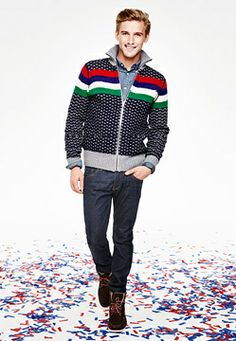 Tommy Hilfiger: THIERY CARDIGAN, TOMMY CHAMBRAY SHIRT, HUDSON STRAIGHT FIT JEANS