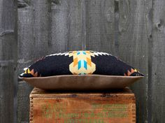 Geometric Wool Pillow // Echo Black / cream / by ScoutandWhistle