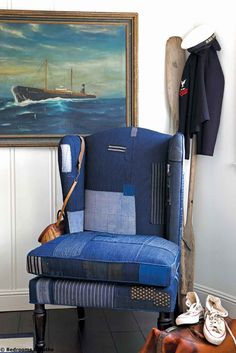 What a great nautical theme nook with art, oars, sailors jacket & cap. and blue patchwork wing chair that looks worn. Modern Bedroom Decor, Master Bedroom Design, Master Bedrooms, Bedroom Ideas, Nantucket, Denim Decor, Patchwork Chair, Home Design Magazines, Painted Chairs