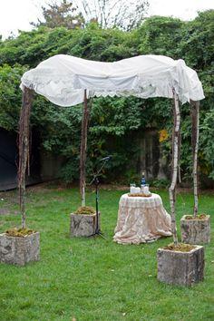 Simple rustic wedding canopy / chuppah // Eclectic Modern Jewish Wedding Blends Wedding Styles Together   Modern Jewish Wedding Blog