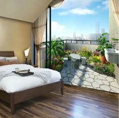 Exquisite balcony scenery 3d wallpaperliving room sofa background wall wallpaper romantic bedroom bedside 3d wall paper