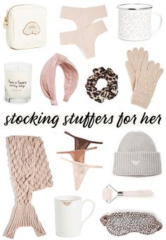 The best stocking stuffers for her. Mermaid tail blanket, leopard print sleep mask, personalized gifts, stoney clover puches, gold and white mug, beanie, pink headband, seamless panties, pearl embellished gloves #stockingstuffers #shopbopsale #winteraccessories #cyberweeksale #blackfridaysale #cybermonday2020 #blackfriday2020