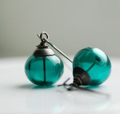 Deep Sea, Handmade Earrings, Dark Teal Artisan Glass and Oxidized Sterling Silver---look like miniature versions of seaglass balls used in home decor!