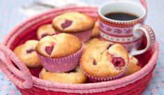 Muffins med hindbær og citroncreme