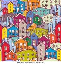 Cityscape seamless pattern. Sketch. orange, blue, purple. vector by EkaterinaP, via ShutterStock