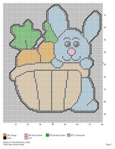 BUNNY & CARROT BASKET by KATHY Stitching Patterns, Cross Stitching, Cross Stitch Patterns, Plastic Canvas Crafts, Plastic Canvas Patterns, Easter Projects, Easter Crafts, Canvas Ideas, Wall Hangings