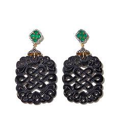 Rarities Carved Black Agate & Gem Vermeil Drop Earrings