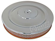 SINGLE HUMP CHROME AIR CLEANER WITH GOLD BASE-EXACT REPRODUCTION  V8 65 Ford Falcon, Air Filter, Chrome, Base, Gold, Yellow