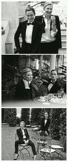 Emily Blunt and Cate Blanchett, photographed by Peter Lindbergh for IWC Schaffhausen ~ Two of my fave gals! Ugh, I can't even tell you how much I love these shots. Cate Blanchett, Style Feminin, Peter Lindbergh, Androgynous Fashion, Emily Blunt, Looks Style, Look Fashion, Fashion Black, Suits For Women