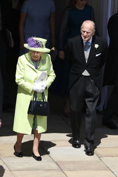 Queen Elizabeth II and Prince Philip, Duke of Edinburgh walk through the Galilee Porch after the wedding of Prince Harry and Meghan Markle at St George's Chapel in Windsor Castle on May 19, 2018 in Windsor, England.