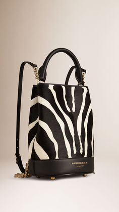 The Bucket Backpack in Animal Print Calfskin Natural | Burberry