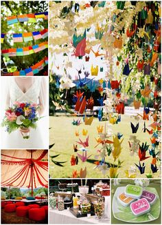 2012 Wedding Trend: Rainbow color! Many brides will eschew the traditional one to two wedding color scheme and opt for a multi-colored, or rainbow colored wedding theme.