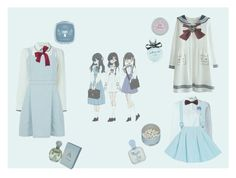 """""""Skyblue schoolgirls"""" by ciel-du-sommeill on Polyvore featuring moda, Peter Jensen, RED Valentino, Dorothy Perkins, Forever 21, The Unbranded Brand, Paul & Joe, Disney, Kate Spade y Mustela"""