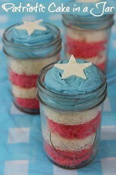 Patriotic Cake in a Jar (Or whatever fits)