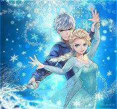 Elsa (Frozen) and Jack Frost (Rise of the Guardians)