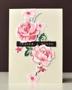 handmade card ... fashion inspired ... double stamp rose image ... pinks on creamy tan card ... gorgeous flower spray ...