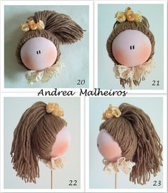 How to maje and apply hair to a rag doll. Doll Wigs, Doll Hair, Doll Clothes Patterns, Doll Patterns, Peg Doll, Clothespin Dolls, Fabric Toys, Sewing Dolls, Doll Tutorial