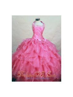 Wonderful Halter Top Hot Pink Organza Beading Little Girl Pageant Dresses  http://www.fashionos.com  http://www.facebook.com/quinceaneradress.fashionos.us  This organza little girl dress features a unique criss-cross straps and a gorgeous bow on the side. A jewel trimmed and ruffling layered ball gown skirt completes the look. This sweet dress will make your girl feel like a princess.