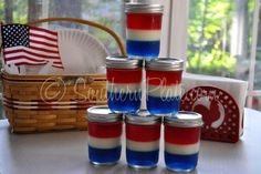 Patriotic Jello Jars by SouthernPlate.com - I'm a sucker for desserts in canning jars, especially after the highly successful Cake in a Jar(s) I made tor Teacher Appreciation Day.  Add that to my love for red, white and blue, this is a winner!! :)