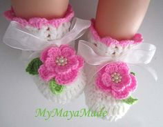 Pink Rose Crochet Baby Girl Booties Size from by MyMayaMade