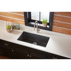 Elkay Quartz Classic Undermount Composite 33 in. Single Bowl Kitchen Sink in Black - The Home Depot Best Kitchen Sinks, Steel Kitchen Sink, Apron Sink Kitchen, Double Bowl Kitchen Sink, Farmhouse Sink Kitchen, Cool Kitchens, Kitchen Cabinets, Fireclay Sink, Undermount Sink
