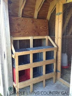Once the boxes are in, it's ready to go!  A little bit of hay for comfort is all you need. I just love this design, the plastic crates are very easy to clean, the frame is extremely light weight so I can move it in and out very easily by myself and the hens really love it as well and fit very comfortably. I have even found two hens in one crate together just as happy as can be!
