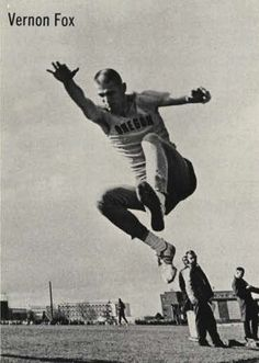 Oregon track athlete Vernon Fox practicing his broad jump at Hayward Field 1964. From the 1964 Oregana (University of Oregon yearbook). www.CampusAttic.com
