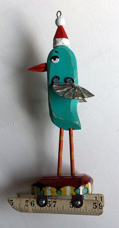 bird santa bird mixed media assemblage from recycled objects moving mechanical sculpture art