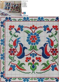 Designed and stitched by Filiz Türkocağı. Cross Stitch Borders, Cross Stitch Flowers, Cross Stitch Designs, Cross Stitching, Cross Stitch Patterns, Diy Embroidery, Cross Stitch Embroidery, Embroidery Patterns, Cross Stitch Cushion