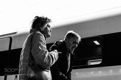 Elderly Couple at Train Station Lugano Switzerland by mcolvin1