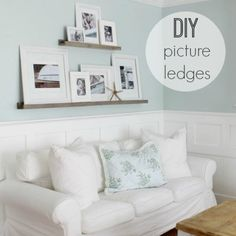 Emily here from The Wicker House and today I want to share with you some DIY Picture Ledges that I built. I had a big blank after painting & knew the ledges would be perfect.