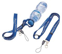 "A 3/4"" wide x 18"" long polyester lanyard with an extra strong rubber water bottle holder attachment. Price includes a one color, one side, step and repeat imprint. Water bottle not included. 18"" L x 3/4"" W http://leaguepromos.com/lanyards-bottle-lanyard-c-22_24.html?page=2=20a"