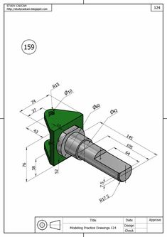 Ölçülendirilmiş Perspektif Resim Örnekleri | Makine Eğitimi Engineering Symbols, Mechatronics Engineering, Mechanical Engineering Design, Mechanical Design, Autocad Isometric Drawing, Isometric Drawing Exercises, Tattoo Vieja Escuela, Cad 3d, Solidworks Tutorial