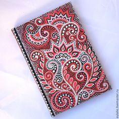 """Купить Ежедневник """"Коралловый"""" - авторская роспись, уникальный подарок, оригинальный подарок, ежедневник, точечная роспись"""