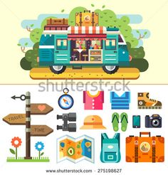 Family travel van. Ice cream coffee van. Summer vacation and holiday trip. Signpost, compass, clothes, shoes, boots, binoculars, sandals, phone, camera, backpack, suitcase. Vector flat illustration