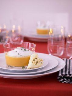 Süßkartoffel-Suppe mit Milchschaum
