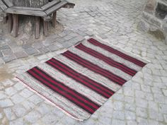 "50 % OFF! TURKISH KILIM RUG, STRIPE, 150 x 92 cm ( 59 "" x 36 "" )"