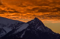 Burning sky over Giewont Mountain, Tatra Mountains, Poland