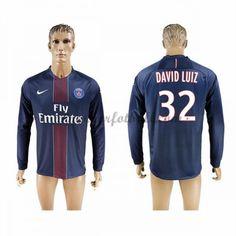 Billige Fotballdrakter Paris Saint Germain Psg 2016-17 David Luiz 32 Hjemme Draktsett Langermet